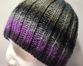 Hand Knitted Wool Blend Ribbed Skull Cap
