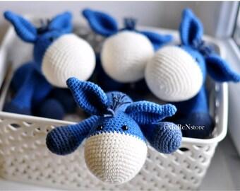 Blue Crochet Amigurumi Donkey, Handmade amigurumi donkey, an excellent stuffed animal toy for children.