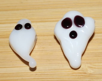 Set of (2) 21 X 12 and 21 X 9mm White Lampwork Ghost beads. Halloween, Seasonal