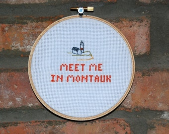 """Eternal Sunshine of the Spotless Mind Cross Stitch Movie Quote- """"Meet Me in Montauk"""""""