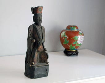 Chinese Wood Statue, Carved Wood Scholar Ancestor Statue, Primitive Wood Carving, Antique Folk Art, Late Qing Dynasty, Vintage Chinoiserie