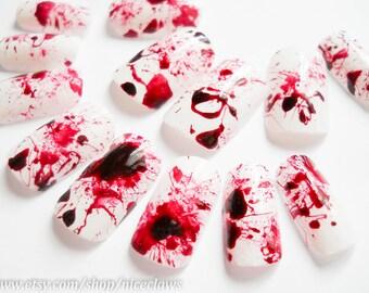 Halloween Nails / Fake Nails / Blood Splatter Nails / Press on Nails / False Nails / Acrylic Nails