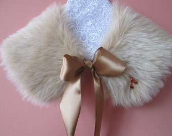 Girl's Faux Fur Collar and a Faux Fur Purse in Sand with Swarovski Crystals / Wedding Collar / Flower Girl / Prom / Easter Gift Idea