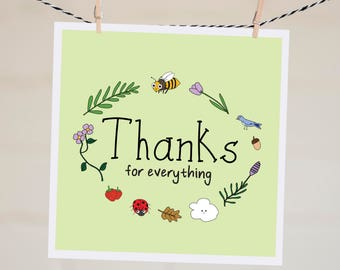 Thanks For Everything Card   Baby Shower Thank You Card   Card for Wife   Thank You Card   Gratitude Card   Bridal Shower Thank You Card