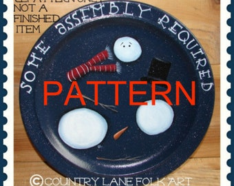 Primitive painting epattern, snowman plate pattern, Some Assembly Required, tole painting pattern, decorative painting patterns, Christmas