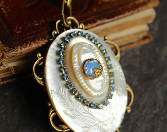Carved mother of pearl antique button Pendant hand painted diminutive metal button blue early 1900's carved elegant rhinestone  vintage