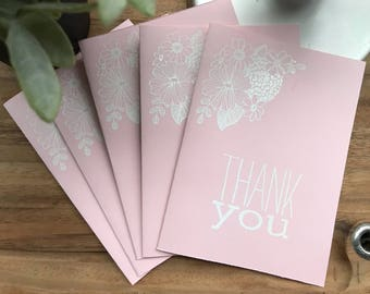 Pretty in Pink Thank you cards - pack of 5