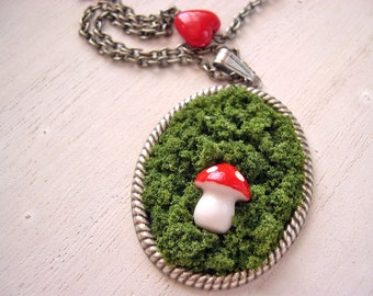Kawaii  woodland mushroom in moss Necklace
