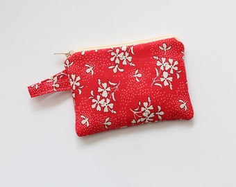 Botanical coin purse, small zipper pouch, pocket wallet, Change purse, cash wallet, mini, jewlery bag, gift card, travel essential oil, red