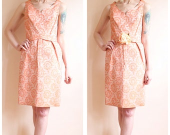 1960s Dress // Spring Highland Brocade Dress // vintage 60s dress