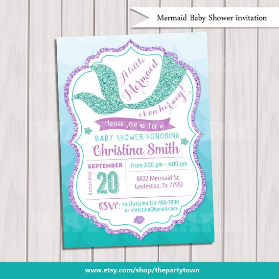 Nice Mermaid Baby Shower Invitation Little Mermaid Baby Shower
