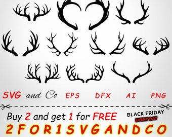 SALE! Deer Silhouette clipart set - Antler SVG file -  instant download - Files for Cricut and Silhouette - horns svg, eps, dxf, png - SAC75