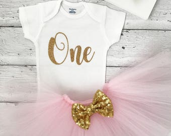 First Birthday Outfit Girl, Birthday Tutu Outfit, 1st Birthday, Pink and Gold Tutu Outfit