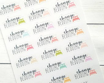 Change bedding planner stickers - Erin Condren - Happy Planner  - Mothers day Gift - gift for her - filofax - dot journal- cleaning - chores