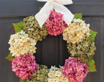 Rose Pink, Cream and Green Artificial Hydrangea Spring Summer Wreath with Bow for Front Door Porch Decor; Small - Extra Large Sizes