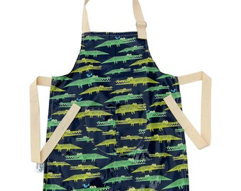 Kids Apron/ Pinny Waterproof Washable Laminated Cotton Snappy Crocodiles/ Alligators