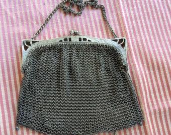 German Silver Mesh Handbag. Mesh Purse, Art Nouveau Mesh Purse