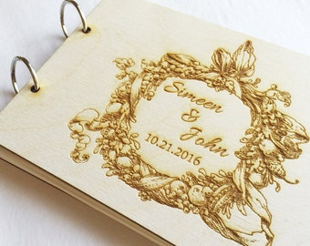 Wedding Guest Book Engraved - Wood Guest Book