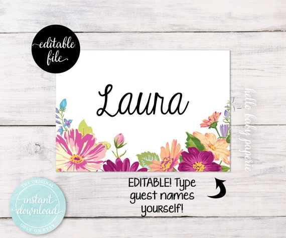Purple Tag: Bridal Shower Name Tags Purple Flower Name Tags Baby Shower