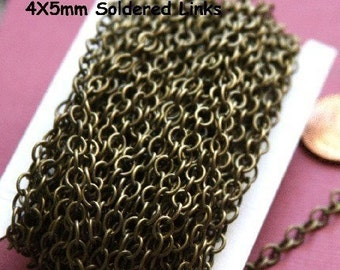 3ft  SAMPLE Chain of Antique Brass Chain round cable chain 4X5mm - Soldered Links