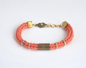 Coral bracelet with tube, cord bracelet, tube bracelet, stacking bracelet, cotton bracelet, salmon pink