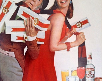 Festive Smirnoff Vodka Ad from 1960's era, great Holiday look to this paper ephemera, ready to party this holiday season.