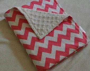 Personalized Chevron Baby Minky Blanket and Bib