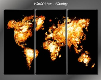 Framed Huge 3 Panel Fire World Map Giclee Canvas Print - Ready to Hang
