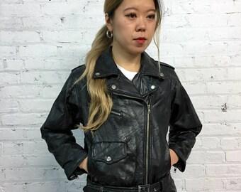 vintage 80s black leather motorcycle jacket / womens vintage moto jacket / shrunken black motorcycle jacket