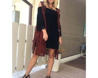 Vintage Burgandy Lace Shawl/Vest