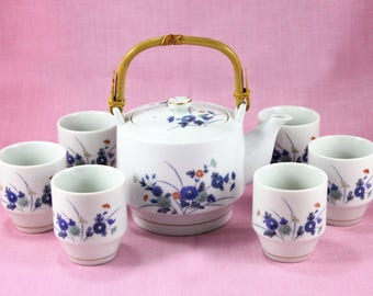 Vintage OMC Teapot with Six Tea Bowl Cups, Bamboo Handle, White with Hand Painted Blue Floral, Otagiri Japan