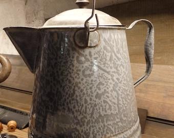 Grey Enamelware Coffee Pot Good Condition