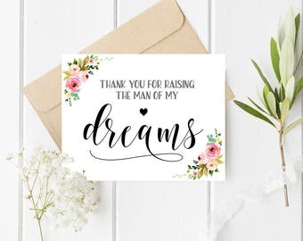 Thank you for raising the man of my dreams card Mother in law wedding card Wedding thank you card Day of wedding thanks Mother of groom card