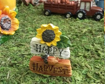 """Fairy Garden Miniature Fall """"Happy Harvest"""" Sign (Resin),for your Fairy Garden- Potted Plant, Fairy Garden Accessories, Fall Decor Sunflower"""