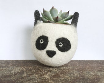 Animal planter | Panda cute planter,  Cactus planter, mini planter, desk decoration, panda lover, cubicle organization, fathers day gift