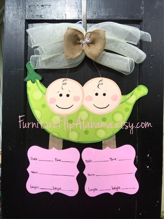 Twin Baby Wreathtwin Baby Door Hanger Twin Baby Announcement