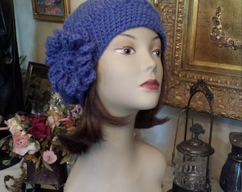 winter Hand Crochet Hat with flower made and designed by petronella