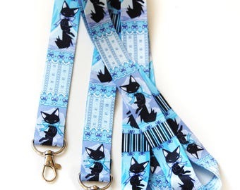 Black Cat Lolita Bow Lanyard