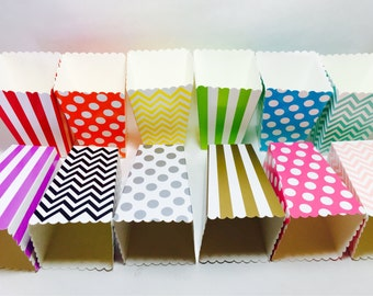 12 TreaT Goodie BoXes red orange yellow green teal blue purple black gold silver popcorn Chevron polka dots striped birthday popcorn shower