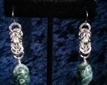 Black and White Swirl Byzantine Earrings Marbled