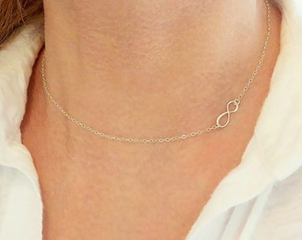 Infinity Necklace + Sideways Necklace + Sterling Silver Infinity Necklace + Gold Infinity Necklace + Infinity Jewelry + Tiny Necklace + M3