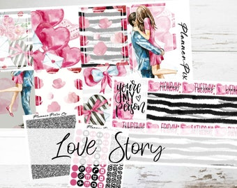 """PREMIUM MATTE (New Layout) Deluxe Weekly Sticker Kit For Use With Erin Condren Vertical Planners - """"Love Story"""""""