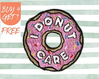Food Patches Funny Patches Iron On Patch Embroidered Patch Donut Party