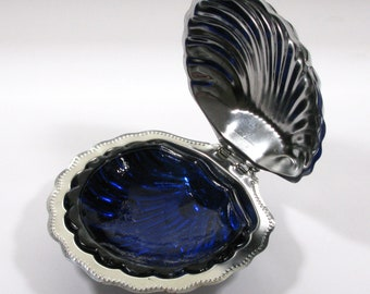 Art Deco Chrome Butter Dish with Colbalt Blue Glass Liner, Chrome Butter Dish,  Butter Dish (233)
