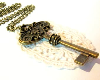 Large key pendant- lace pendant-bronze key pendant- key necklace-Secret Garden Pendant Necklace