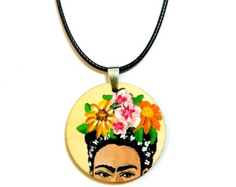 Frida Kahlo Hand Painted Wooden Necklace - Pendant