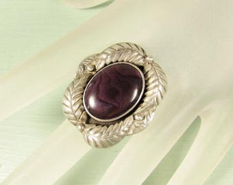 NA Sterling Silver Ring - Vintage Purple Paua Shell Skyway Trading Co STC Size 6