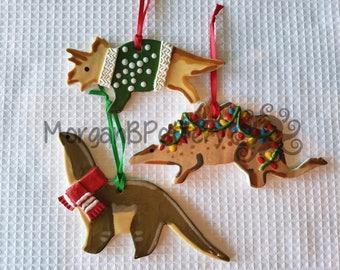 Dinosaur Ornaments - Set of 3 - Ceramic - Green Triceratops, Stegosaurus, Brontosaurus - Ugly Christmas Sweater