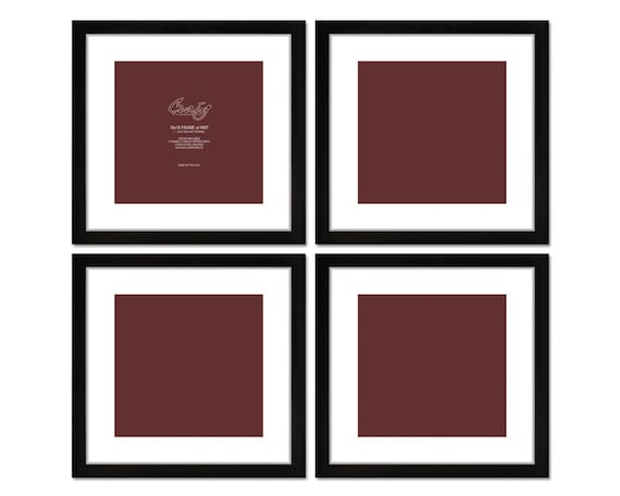Craig Frames, 16x16 Inch Black Picture Frame, White Mat with 12x12 ...