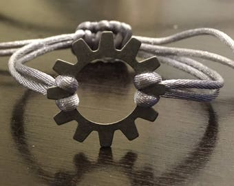 Silver Adjustable Knot Bracelet, Washer Charm Bracelet, Friendship, Minimalist, Boho, Chic